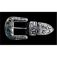 Silver Strike 3 Piece Silver Floral Filigree Men's Buckle Set