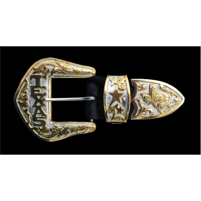 Silver Strike 3 Piece Silver and Gold Texas Filigree Men's Buckle Set
