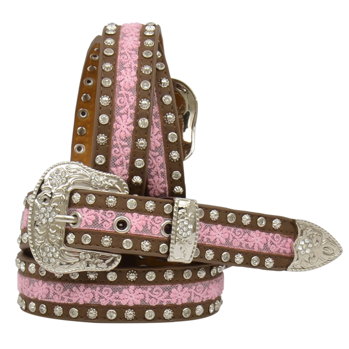 "Angel Ranch 1 1/4"" Brown and Pink Girls' Fashion Belt"