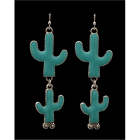 Silver Strike Turquoise Cactus Earrings
