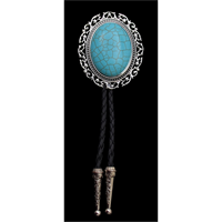 Silver Strike Silver and Turquoise Bolo Tie