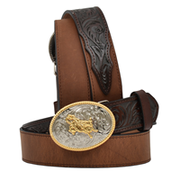 "3D 1 1/4"" Dark Brown Boys' Western Basic Belt"