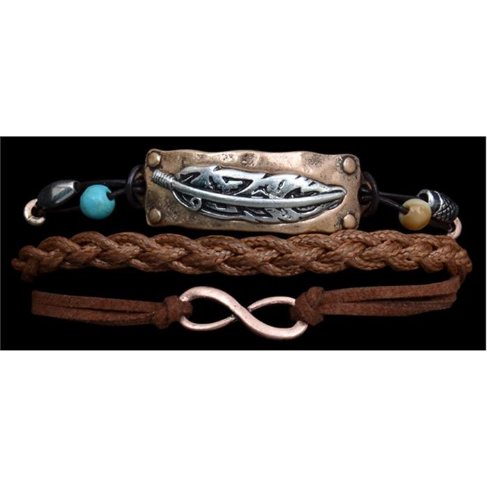 Silver Strike 3 strand Feather Bracelet