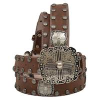 Angel Ranch Western Womens Belt Leather Cross Square Conchos Studs Black A3790