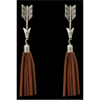 Silver Strike Silver Arrow and Tassel Earrings