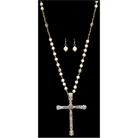 Silver Strike Silver Cross and Pearl Earring & Necklace Set