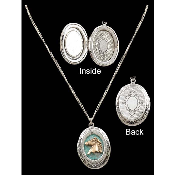 99d9a9766 Silver Strike Horse Locket - N0660 - 3D Belt