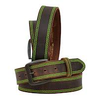 "1 1/2"" Brown Distressed W/Hot Green Stitching"