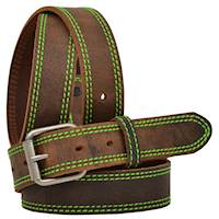 """1 1/4"""" Brown Distressed W/Hot Green"""