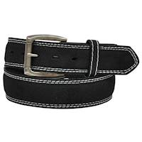 3D Mens Belt Black With Off White Stitching
