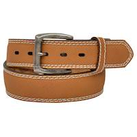 Mens Belt Tan With Off White Stitching