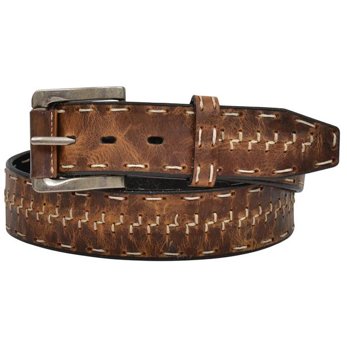 "Mens Belt 1 1/2"" Brown Distressed with Z Stitch"