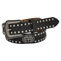 "Boys Belt 1 1/4"" Kids Black with Longhorn Concho"