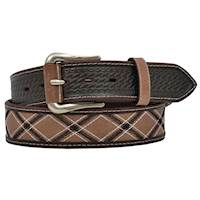 "Mens Belt 1 1/2"" Black and White Stripes"
