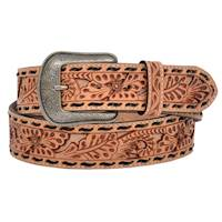 "Mens Belt 1 1/2"" Floral Natural with Inlay"