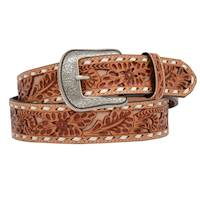 "Mens Belt 1 1/2"" Floral W/Natural Inlay"