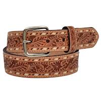 "Boys Belt 1 1/4"" Floral Natural With Inlay"