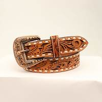 "Mens Belt 1 1/2"" Light Oil Filigree Floral"