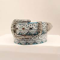 "Ladies Belt 1 1/2"" TQ W/WHT LACE & SIL ST"