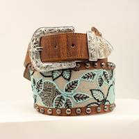 WIDE BRN PU BELT W/BLK & MINT