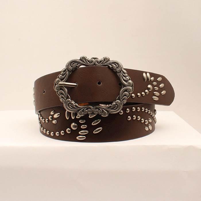 Ladies Belt  Brown  1-1/2 Wide  Studded Design  Decorative Buckle