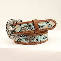 Angel Ranch Girls Belt Distressed Brown and Mint