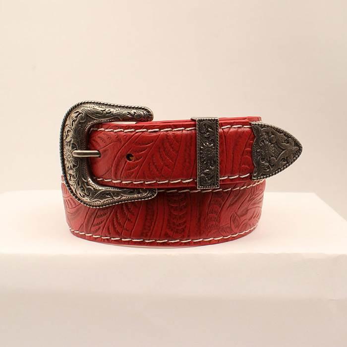 """Ladies Belt 1 1/2"""" RED FLORAL W/ WHT CONT"""