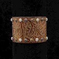Silver Strike Bracelet Copper Floral Tooled