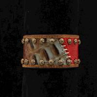 Silver Strike Bracelet Brown Red Croc Print