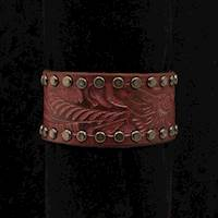 Silver Strike Bracelet Leather Feather Design