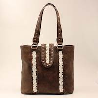Dark Brown with Whie Floral Embroidery Tote Conceal Carry