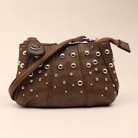 Brown Saddle Bag with Silver Studs Crossbody