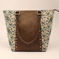 Brown with Black and Mint Leaf Tote Conceal Carry