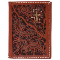 3D Tan Western Trifold Wallet