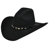Alamo 7X Black Felt Hat with Wind Crown