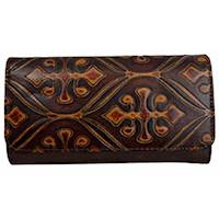 WALLET CLUTCH EMBOSSED BRN PU