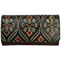 WALLET CLUTCH EMBOSSED BRN & TURQUOISE