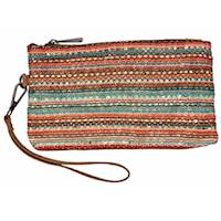 Tan W/Multi Colored Lace Wristlet