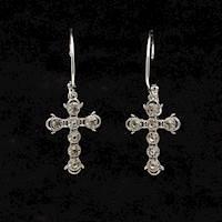 Silver Strike Earrings Hoop with Cross