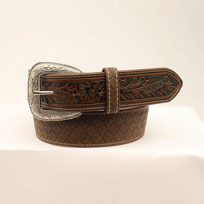 """3D Mens Belt 1 1/2"""" Brown Diamond Shape"""