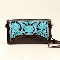 Dark Brown Floral Turquoise Crossbody Clutch
