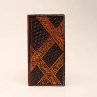 Rodeo Wallet Chocolate Basketweave With Contrast