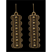 LoulaBelle Antique Gold Long Dot Earrings