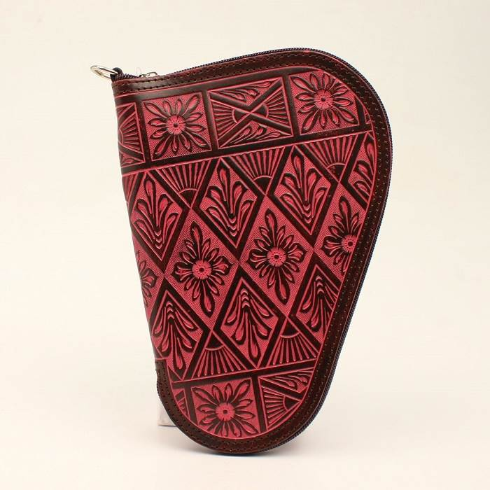 Pistol Case Small Brown Hand Tooled Floral