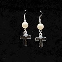Silver Strike Earrings Dangling Cross