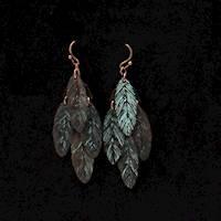 Silver Strike Patina Feather Dangle Earrings