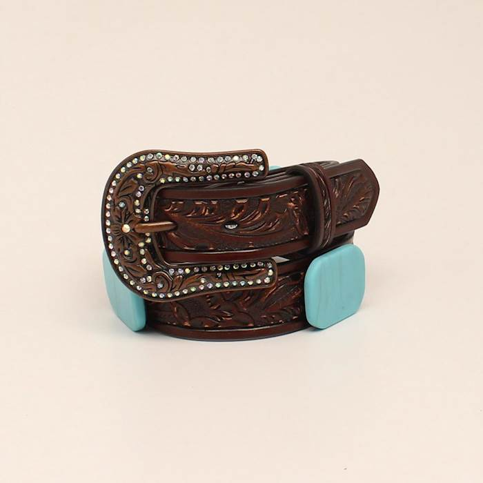 Angel Ranch Girls 1 1/4 Sand Embossed Turquoise Stone Brown