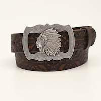 "Angel Ranch 1 1/2"" Aztec Sanded Indian Buckle Brown"