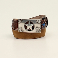 3D Boys Belt 1 1/4 Light Up Star Buckle Brown