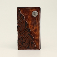3D Rodeo Wallet Floral Tooled Cross Concho Brown